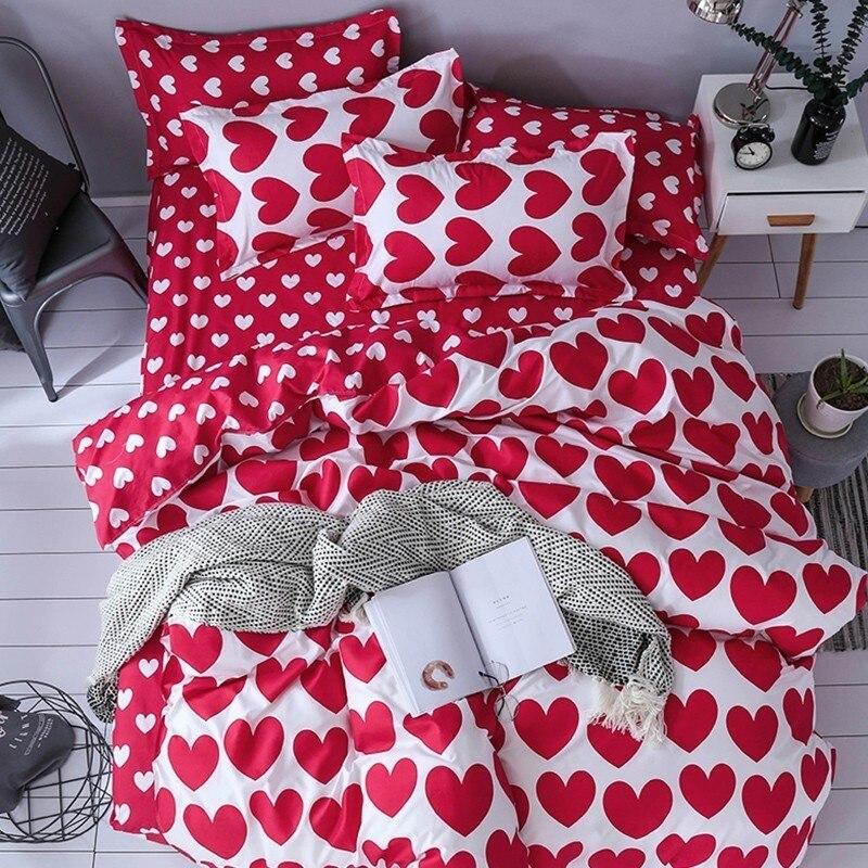 Juegos de cama 3D textiles para el hogar a la moda, ropa de cama para niñas y adolescentes, funda nórdica de corazón rojo, funda de almohada, Sábana plana para cama
