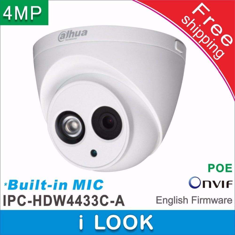 Frete grátis dahua built-in mic hd 4mp rede ip câmera IPC-HDW4433C-A substituir IPC-HDW1431S cctv dome câmera suporte poe