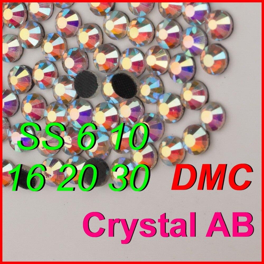 ¡Calidad superior! Plancha de diamantes de imitación SS 6 10 16 20 30, cristal claro AB Shine, Color DMC, Joyas de piedras para niños y mujeres, ropa DIY