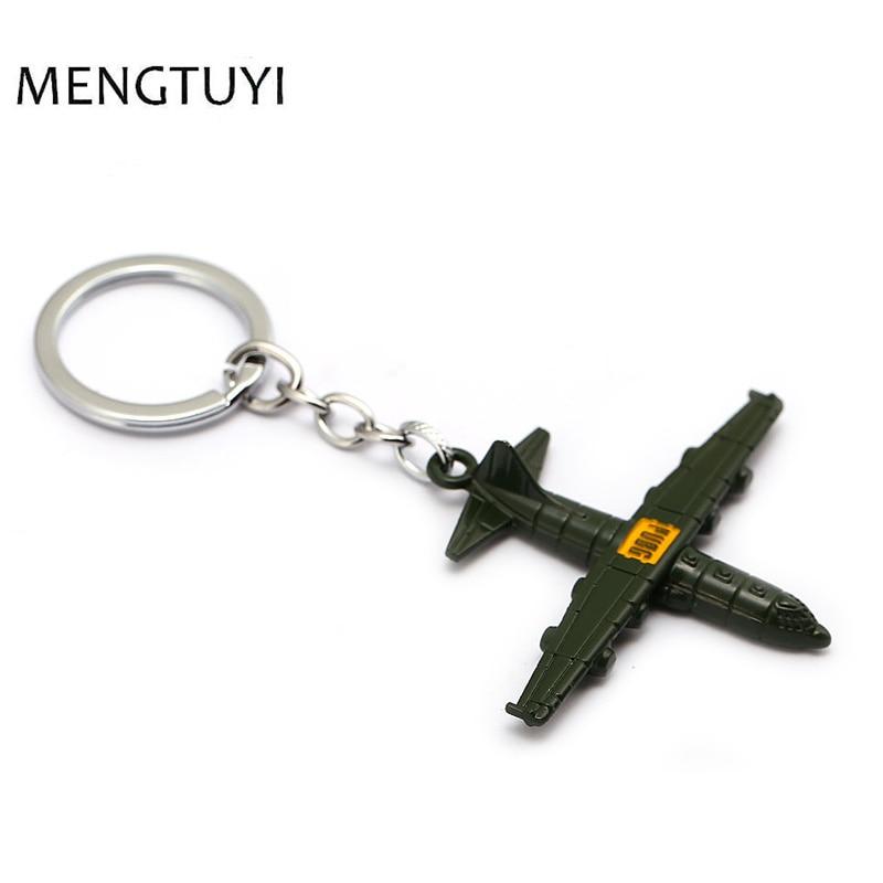 J Shop Hot spiel PUBG Flugzeug keychain 3D airplan modell schlüssel kette Olivgrün auto schlüsselanhänger spiel Pubg souvenir männer geschenk schmuck