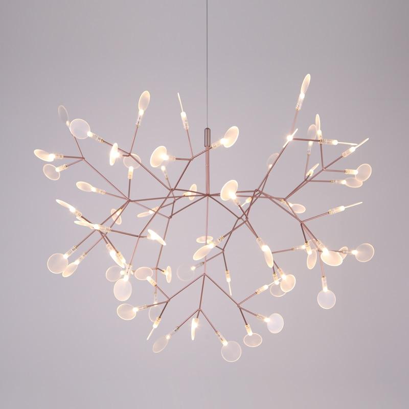 Lámpara colgante de hoja de árbol Heracleum moderna plateada de 72cm de diámetro, lámpara LED de suspensión, lámparas de Arte de sala de estar, Bar de hierro, restaurante