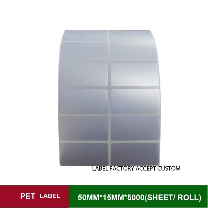 50x15mmx5000sheets por rollo De Polietileno etiqueta acepte la orden personalizado con otro tamaño cinta de tinta etiqueta