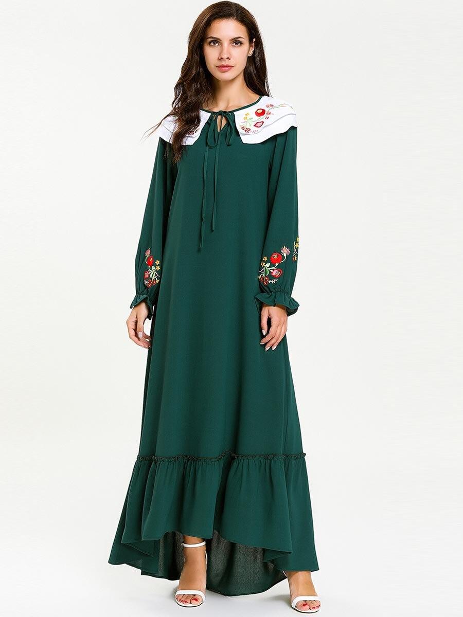 De moda de Kaftan marroquí largo vestido bordado de longitud completa verde traje de moda abaya musulmán túnica árabe cómodo 7646