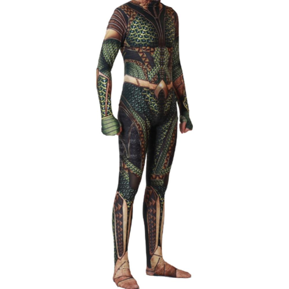 DC película Aquaman mono juego de rol disfraz zentai body adulto chico niño hombre Cosplay traje de Aquaman