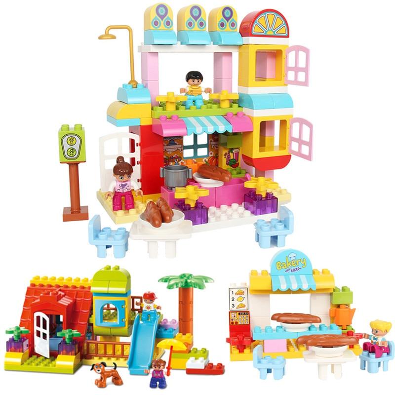 Diy Happy Kicthen Hobbies Delicious Restaurant Figures Blocks Set Compatible With Duploed Bricks Toys For Children kids gift