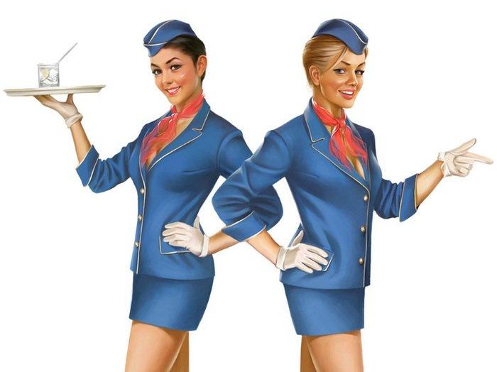 Soviética pin up EN DIRECTO vuelo anfitriona adhesivo mural clásico de lona pinturas decorativo Vintage cartel Bar decoración regalo