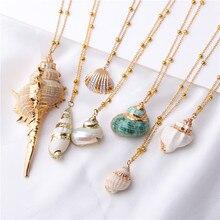 2019 Boho conque coquille Collier mer plage coquille pendentif Collier pour femmes Collier Femme coquille Cowrie été bijoux bohème