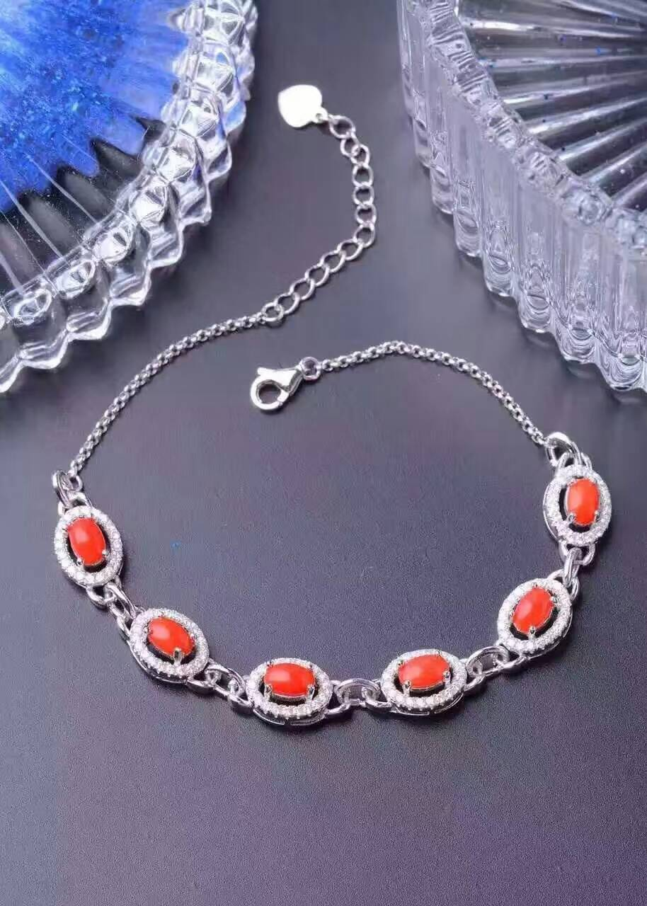 Preciosa Natural pulsera coral rojo pulsera de piedra Natural pulsera de plata 925 pulsera de moda femenina ronda de boda joyas regalo