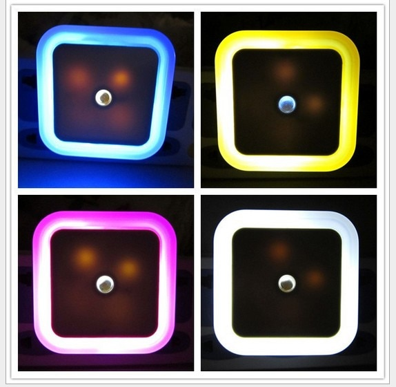 6pcs Cute LED Night Light Auto Sensor Lamp EU/US Plug Socket Nightlight 110/220V LED Wall Hallway Staircase Garden Home Light