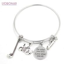 10PCS Stainless Steel Bracelet Wire Expandble Bangle Sport I love Golf Bag Charm Bracelet Bangle for Women Jewelry Gift
