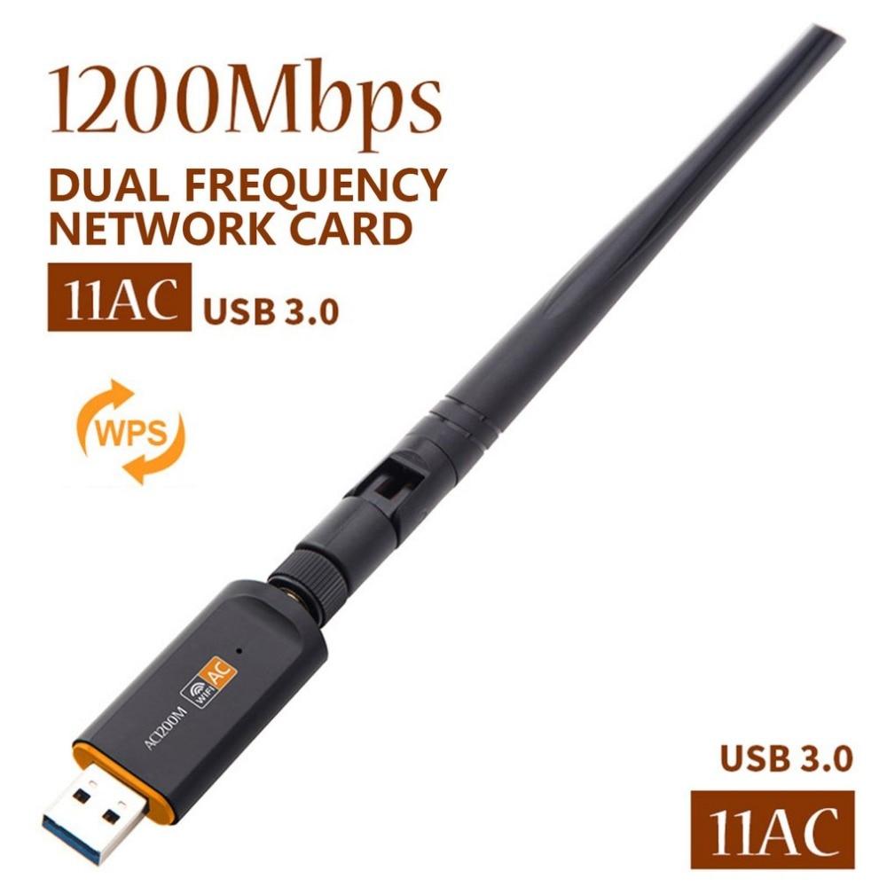 Adaptador USB inalámbrico de 1200Mbps CA, banda Dual 2,4/5Ghz con antena 802.11AC, tarjeta de red de alta velocidad, receptor USB3.0