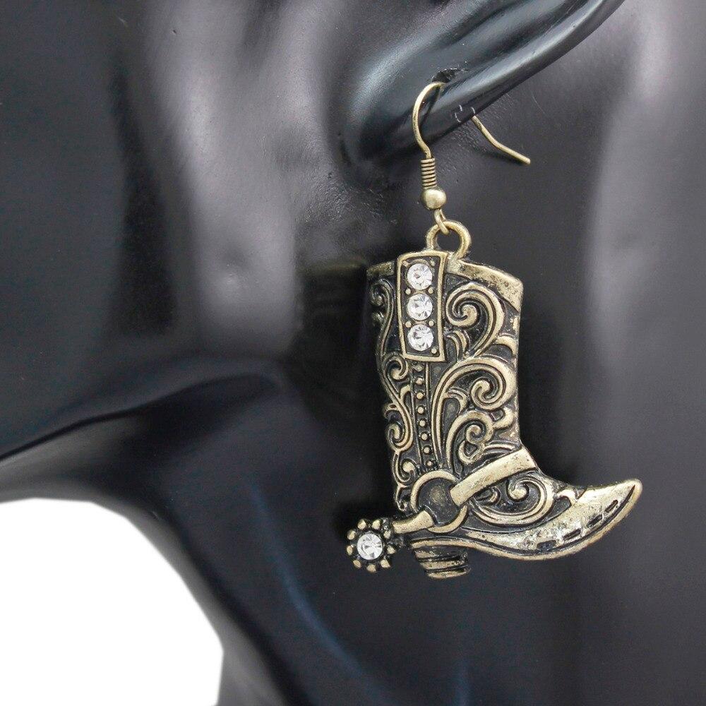 Винтажные золотые ковбойские ботинки в стиле вестерн, ковбойские ботинки в техасском стиле, серьги в стиле Родео, модельные украшения для костюма