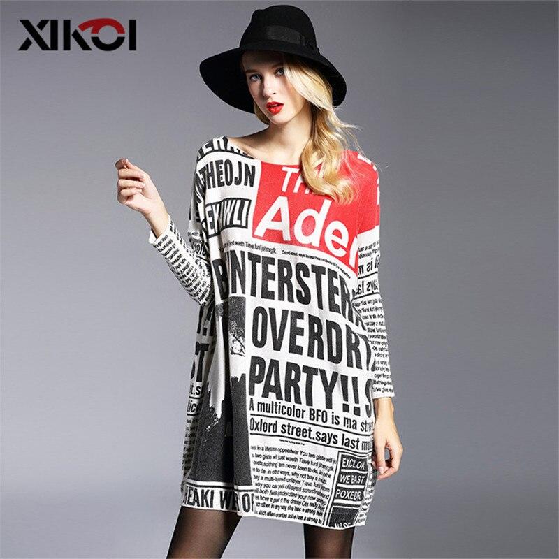 XIKOI 2020 nuevas grandes suéter mujer estampado de moda mujeres suéteres jerséis con cuello oblicuo computadora Primavera de punto suéter mujeres