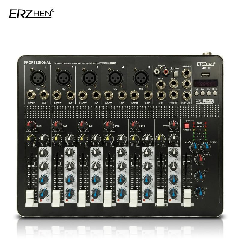 Consola mezcladora de Audio con mezclador USB de 4 canales consola de sonido equipo de DJ/fuente de alimentación fantasma de 48V con mezcla de Audio Bluetooth