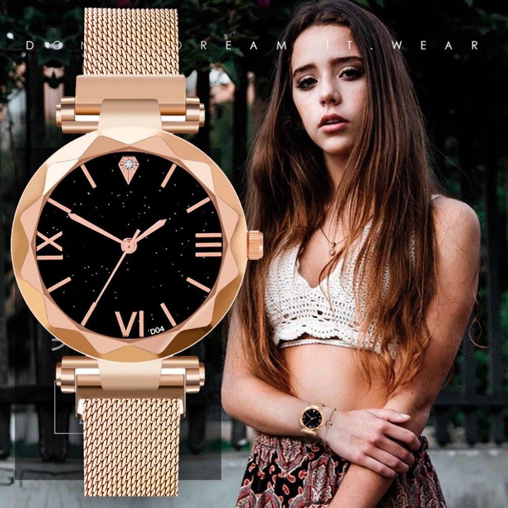 De moda de lujo de oro relojes de plata de cielo estrellado las mujeres reloj impermeable magnética, de acero inoxidable Correa hebilla sin regalo # culo