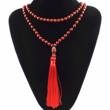 (Envío gratis) 6mm piedra roja cuentas redondas Nepalese CZ borla capas Diseño collar SHX1000