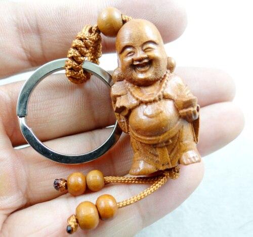 LLavero de madera de Buda con grabado tridimensional de caoba Natural llavero de joyería realista para hombres y mujeres 1 pieza