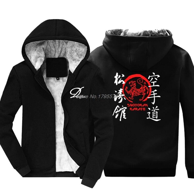 Sudadera de invierno a la moda con cremallera para hombres nueva japonesa Kanji Shotokan Karate Dojo Mix Martials Sudadera con capucha chaqueta Tops