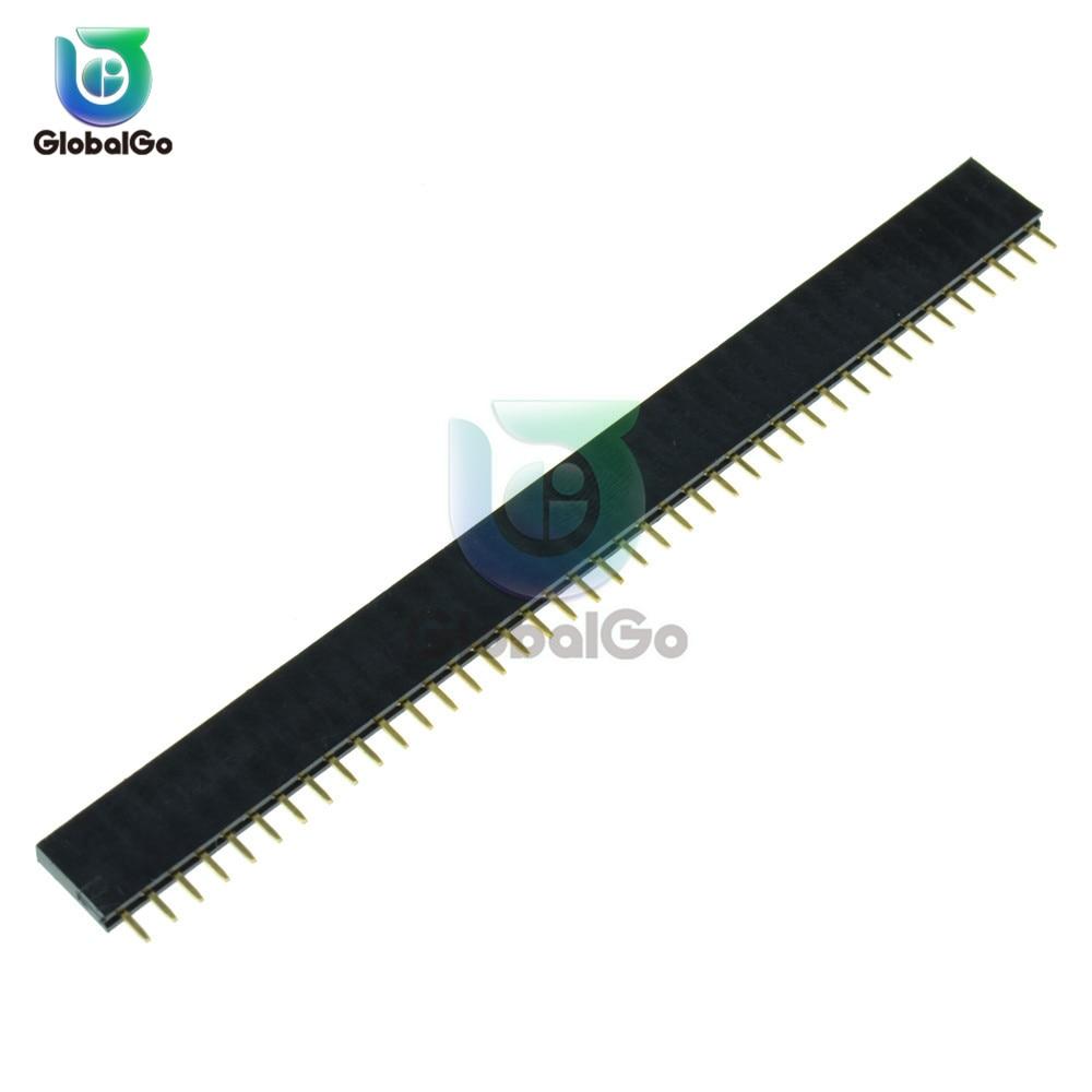 10 unids/lote 1X40 PIN de una fila conector hembra recto conector de tira de paso de 2,54 MM 140 40 p 40PIN 40 PIN para PCB