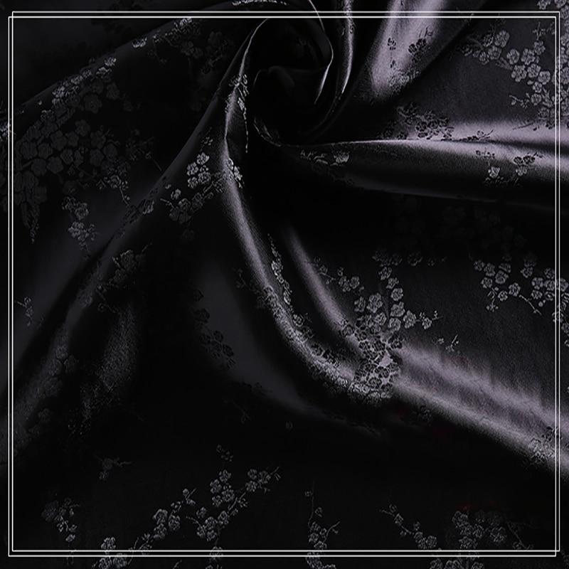 Tissu de fleurs de prunier doré   brocade jacquard, polyester rouge, fond de fleurs de prunier, tissu de patchwork, pour femmes de 100x90