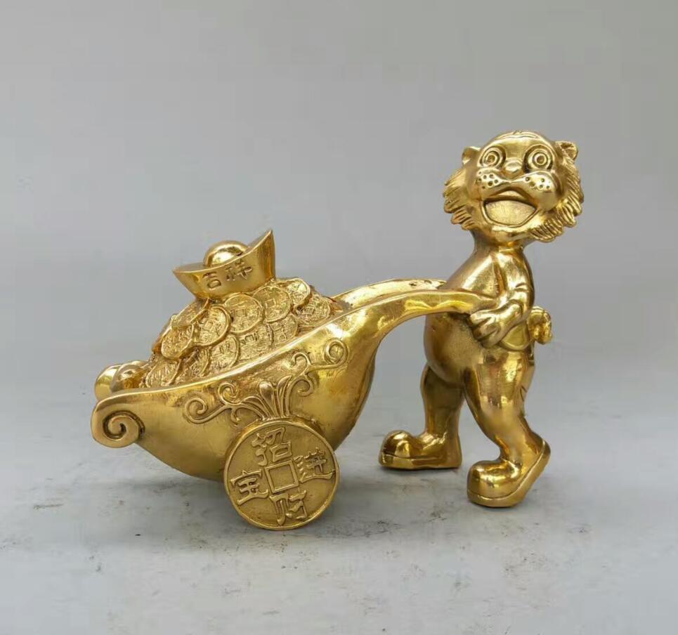 Colección de Arte de decoración estatua de tigre de latón labrado chino/escultura de moneda de la suerte Fengshui para el hogar
