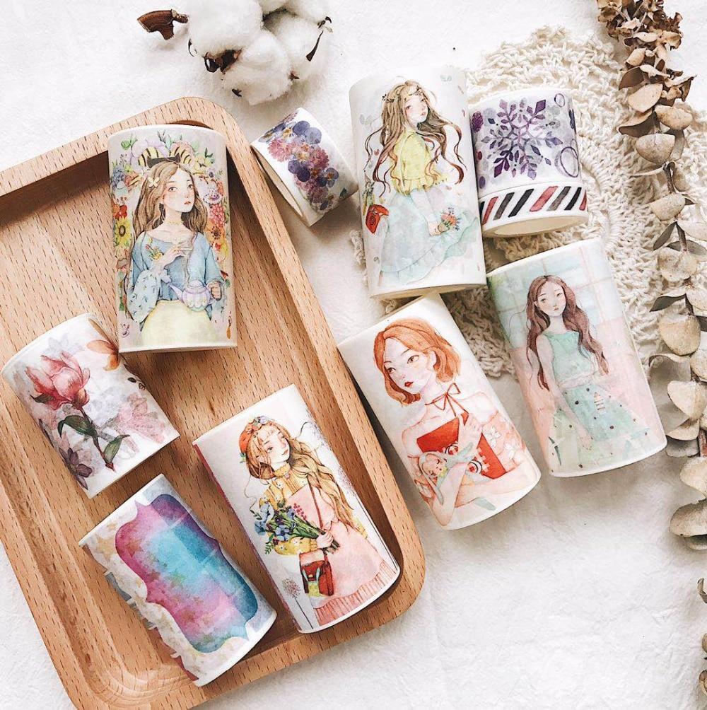 10Designs Kawaii Washi Tape Retro Girls/Flowers Japanese Decorative Adhesive DIY Masking Paper Tape Stickers Label Free shipping