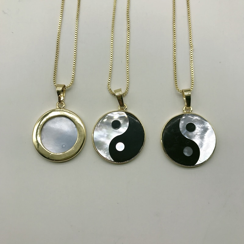 5 unids/lote chino Yin y Yang Shell collar Shell collares y colgantes para joyería de moda