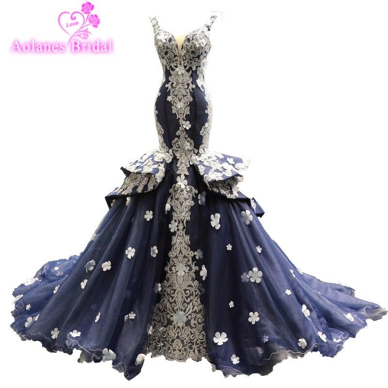 Sereia vestidos de noite v-neck babados manga com 3d flores rendas apliques flor ilusão tule formatura vestidos 2019 vestidos de festa