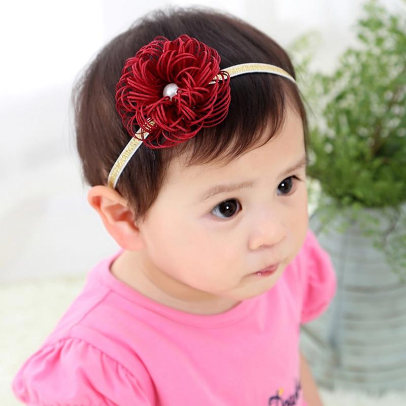 2018 New Arrival Lovely Headwear Handmade Flower Pearl Diamond Hair Bands Girls Headband Baby 1PC Children Hair Accessories
