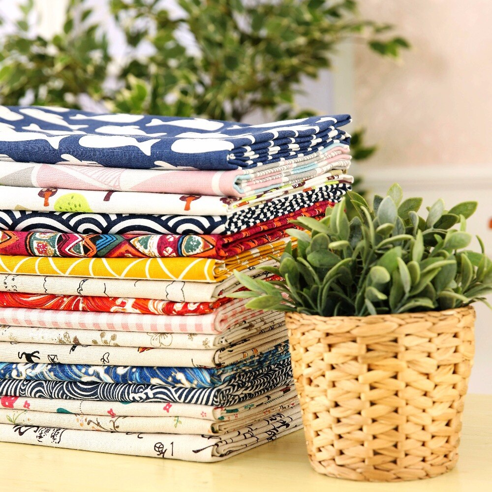 Tela de lona gruesa de lino de algodón DIY para mesa de Casa sofá Deco Material de impresión corbatín floral campo Estilo de la planta 100*150cm