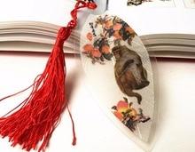 Marque-page en feuilles séchées 30 pièces   Souvenir Souvenir cadeau cadeau anniversaire motif singe pêche, marque-page pour mariage réception-cadeau pour bébé