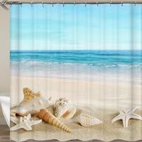 Rideaux de douche avec crochets  pour salle de bain  tortue  decor de plage  etoile de mer  rideau ou tapis 3D
