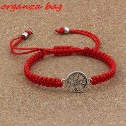2 unidades/lotes fashions liga árvore da vida charme vermelho puro mão-tecido ajustável pulseira B-71