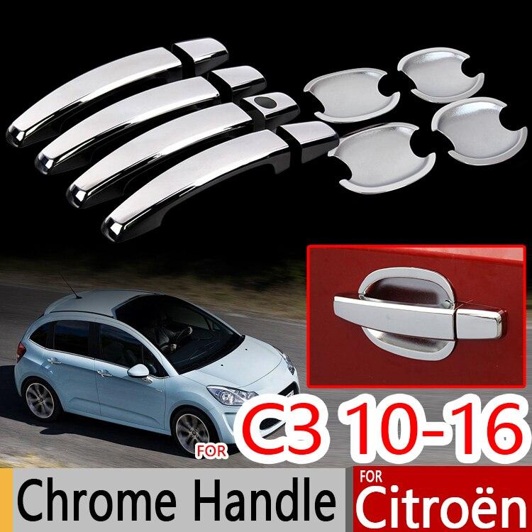 Cubiertas de molduras cromadas para Citroen C3 Mk2, Set de 4 Uds. De accesorios para coche 2010-2016, pegatinas para Estilismo de coche 2011 2013 VT VTR +