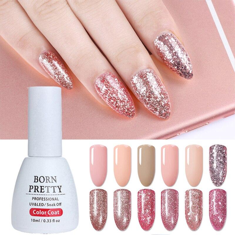 Juego de Gel de uñas de oro rosa bonito nacido 12 piezas brillo Gel esmalte UV uñas arte Rosa lentejuelas geles esmalte champán oro brillo de uñas