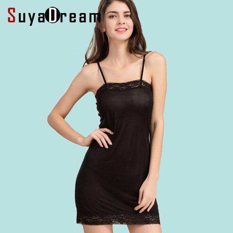 Vestido entero de encaje de seda auténtica para mujer, vestido blanco y negro liso, ropa interior nueva, vestido para dormir cómodo