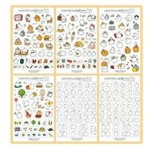 6 pcs/set Cute Kawaii Molang Rabbit PET Decoration Planner Sticker Cartoon Staionery Notebook Diary Stickers