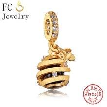 Shine Sweet As Honey Hanging Pendant Charm Bead CZ 925 Silver Fit Original Pandora Charms Bracelet Jewelry Making European Gift