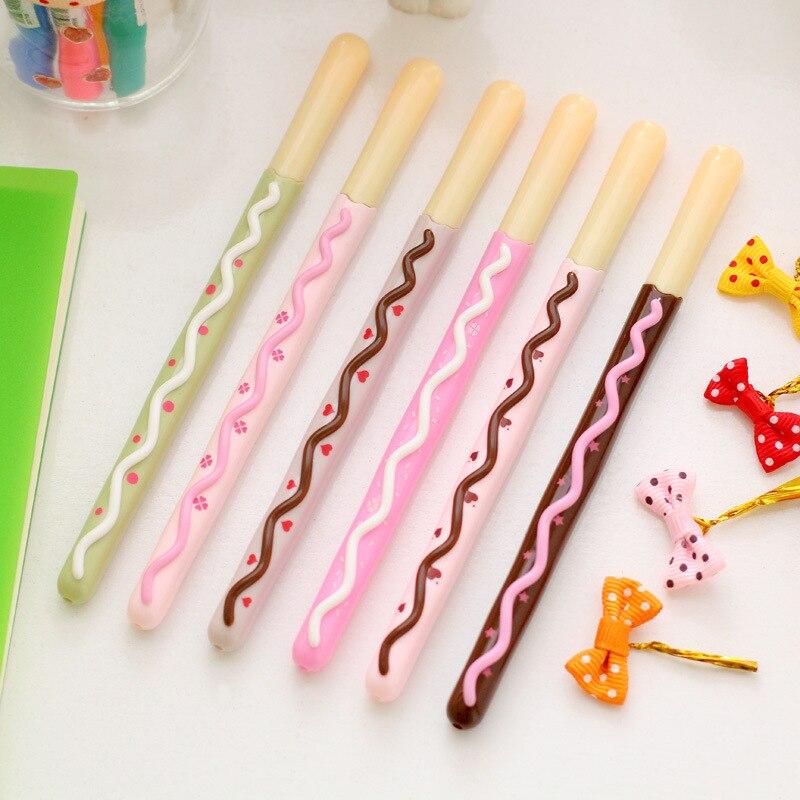 6 pçs/lote Chocolate stick lapices caneta gel Doce 0.38 milímetros canetas gel-tinta preta Caneta material de Escritório material escolar papelaria F810 patty