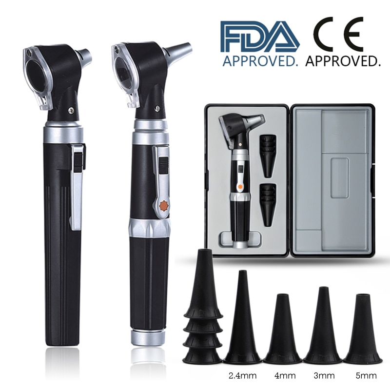 Kit de diagnóstico médico profesional ENT, boroscopio portátil, herramienta de verificación de cera de oído, endoscopio LED Otoscopio, Otoscopio directo