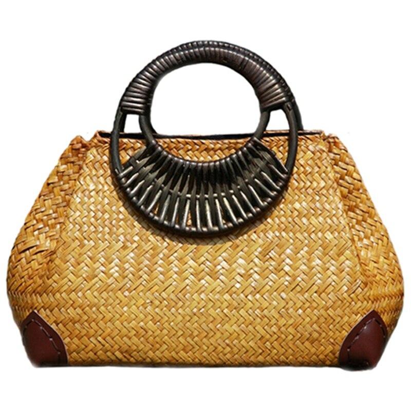حقيبة يد منسوجة من الخيزران للنساء ، قش ، صناعة يدوية ، عتيقة ، بمقبض خشبي ، للسفر ، للصيف