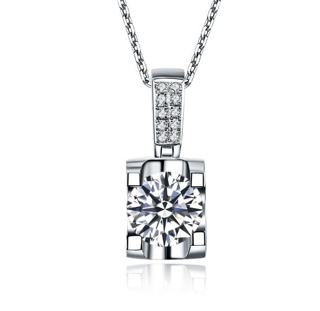 Testado real de alta qualidade real sólido 14 k ouro branco 1 quilates de noivado pingente diamante casamento colar de ouro sólido 45cm