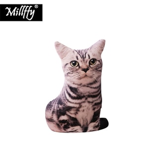 Dropshipping Millffy New Arrival 1PC 50cm 3D Print Plush Cat Pillows Soft Toy Animals Cushion Sofa Decor Stuffed Toy for Kids