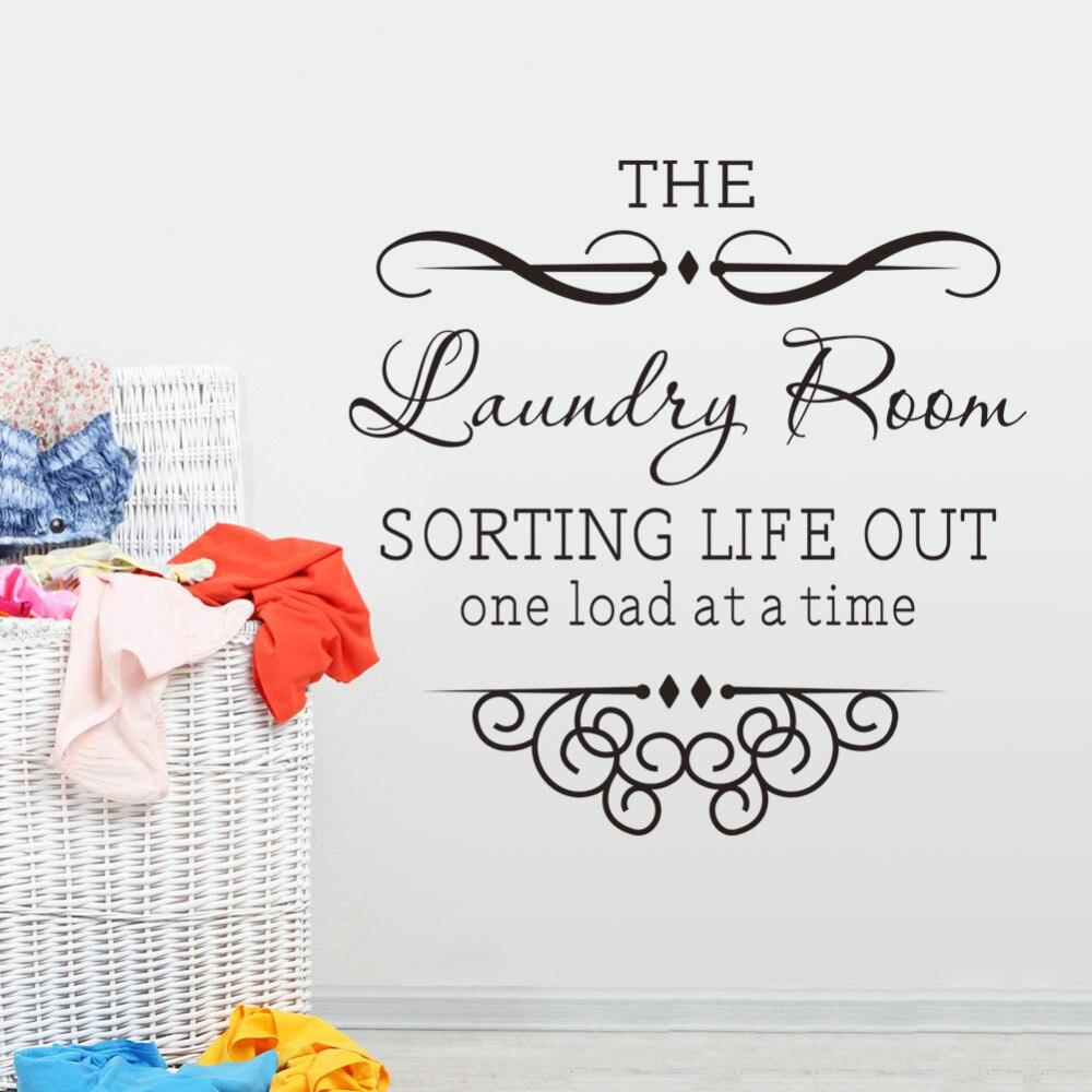 Adhesivos de pared con frases 8377 para las reglas de la sala de lavandería vinilo decorativo pared adhesivo vinilo divertido papel tapiz