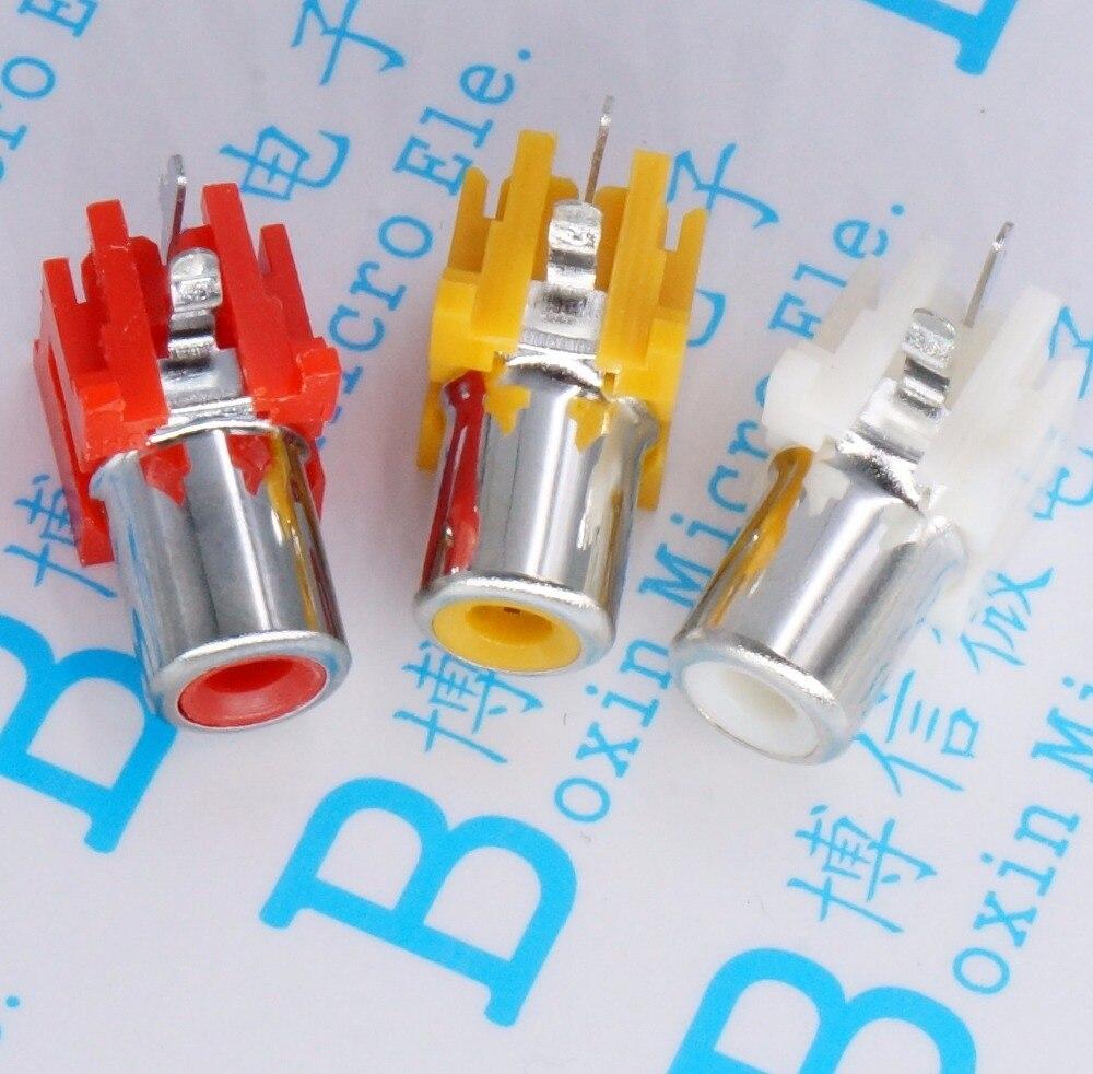 Prise RCA 2 broches AV 100 pièces   Avec la prise à noyau, prise audio vidéo PCB soudure lotus seat