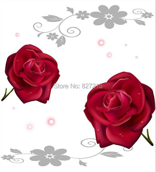R-2828 de techo de PVC rosa roja/rosa roja con fondo blanco/para decoración de pared