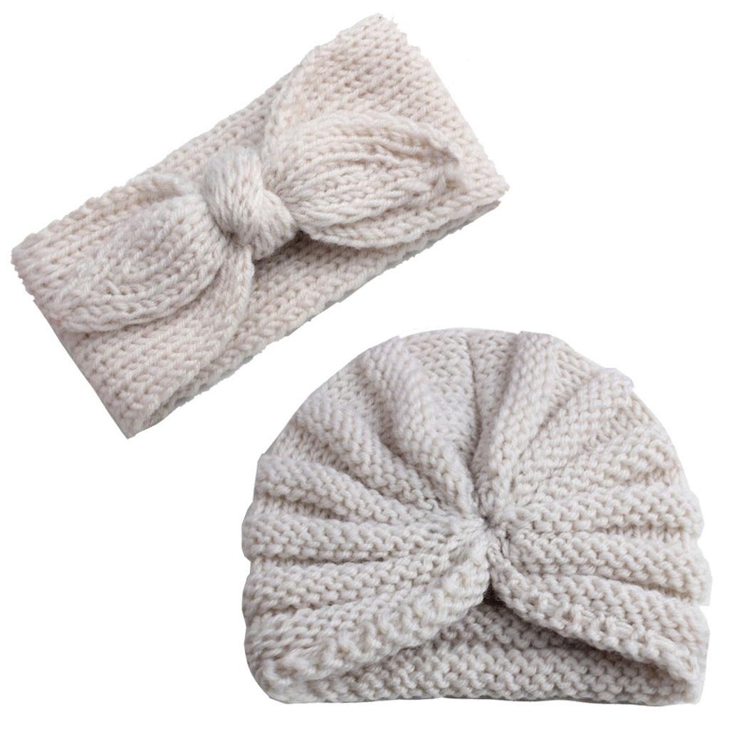 Gorro turbante tejido Para recién nacidos y niños y niñas, gorro con banda Para el pelo, conjunto de gorro, accesorios Para el cabello Para bebés, diadema Para bebé