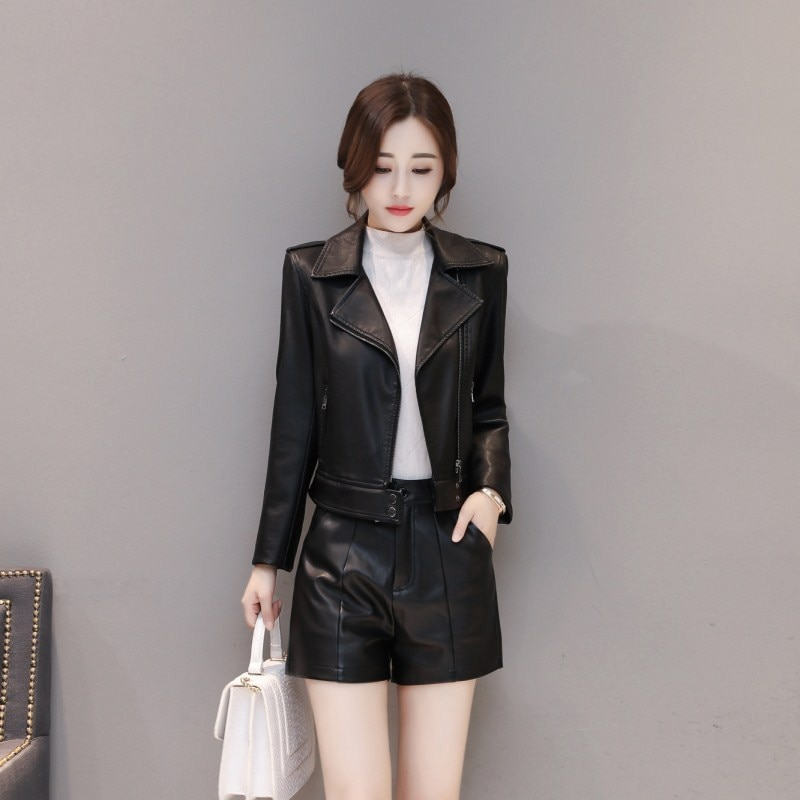 leather jacket women Rex fur collar  black red coat Two coats Waist separate Long cotton Windbreaker plus Size M-4XL K811 enlarge