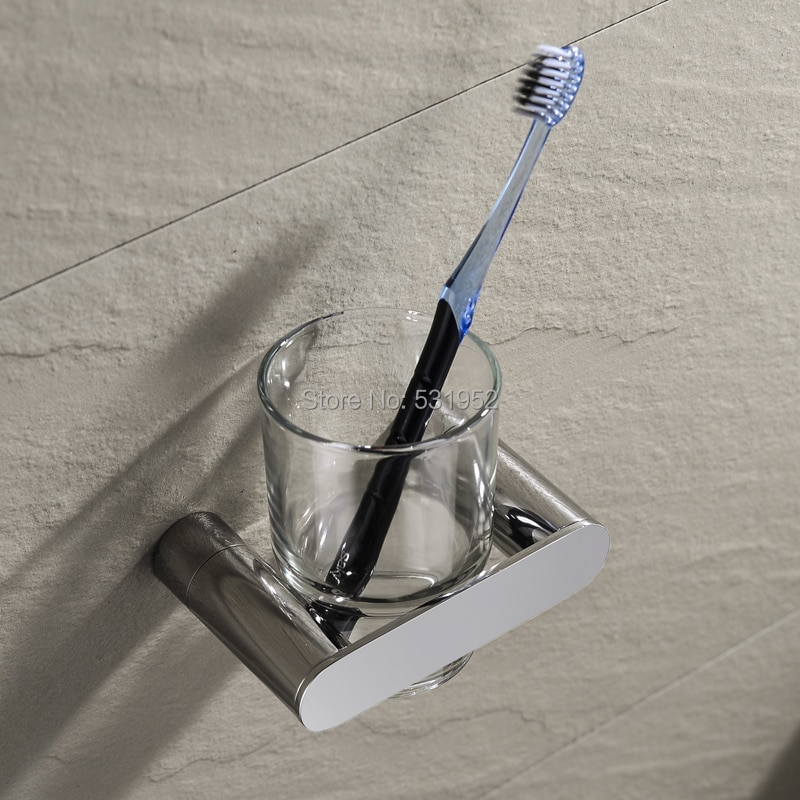 حامل أكواب واحد بتصميم جديد, حامل فرشاة أسنان من الفولاذ المقاوم للصدأ مع كوب ، مثبت على الحائط ، ملحقات الحمام
