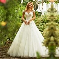 eightale wedding dresses boho scoop appliques lace wedding gowns a line tulle cap sleeve iluusion back bride dress 2019